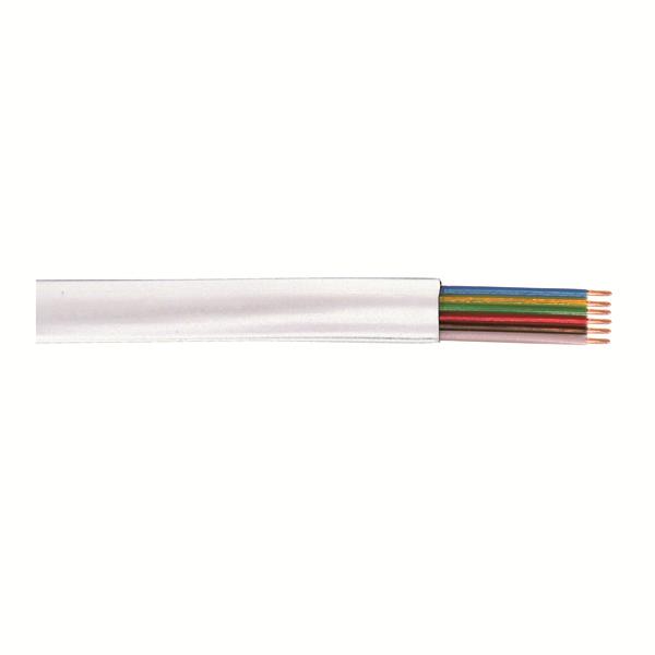 6 lı Yassı Köken Kablo, Beyaz, 100m