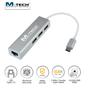 M-TECH MTUCE0174 USB Type-C 3 Port USB3.0 Hub ve Gigabit Ethernet Adaptörü